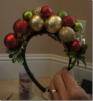 Ugly sweater parties are all the rage. Add this headband to the ensemble and KABOOM, youre an over-the-top, holiday mess with glitter on top -- LOVE IT! Click the pic for your DIY to help you achieve a fabulously gaudy holiday crown... Tacky Christmas Party, Tacky Christmas Sweater, Ugly Sweater Party, Noel Christmas, Xmas Party, Winter Christmas, Christmas Bulbs, Christmas Decorations, Christmas Ornament
