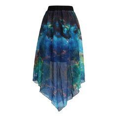 Pleated Chiffon Galaxy Cosmic Digital Printed Skirts ($35) ❤ liked on Polyvore featuring skirts, blue skirt, chiffon knee length skirt, cosmic skirt, pleated skirt and chiffon skirt