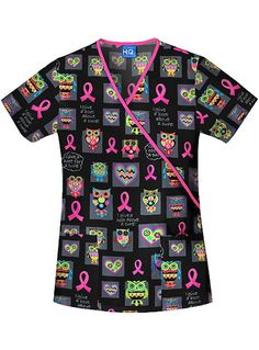 Style Code: (CH-4826CIG) Spread breast cancer awareness with this Scrub HQ top printed with the I Give A Hoot design. This top features a slim fit cut with a mock wrap accentuated with neckline binding. It has provisions for handy tools through its two roomy patch pockets. It also has side vents for better movement. It is cool, soft and comfortable as it is made of 100% cotton,sheeting.