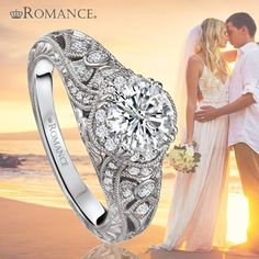 We're dazzled by this vintage Romance engagement ring with a round center diamond #gorgeous #dazzle #engagementring #romance #diamonds #barrysestate #jewelry