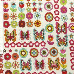 Tischdeckenstoff PVC Schmetterling Blume Sterne Kunststoff  – Bild 2