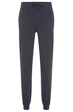 Tracksuit bottoms in cotton blend: 'Long Pant CW Cuffs', Dark Blue