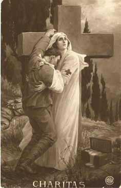 An Italian nurse portrayed as comforting beauty, supports a wounded soldier, ca. 1916. Pictures of Nursing: The Zwerdling Postcard Collection. National Library of Medicine