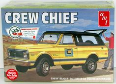Crew Chief Chevy Blazer   AMT kit in 1/25 scale.   Build as either the engineer's wagon or as an off-road vehicle.   Features: Optional all-weather hardtop Open