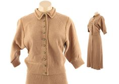 50s Knit Sweater Skirt Set Blush Wool Cardigan by RageVogueVintage
