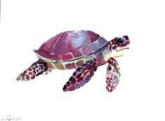 Sea Turtle, original watercolor painting, 9 X 12 in, landscape, horizontal orientation, purple, natural history, nursery art, sea animals