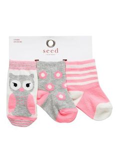 Baby novelty socks- pack of 3 pairs. Designs exclusive to Seed Heritage. Cotton/Nylon/Elastane.