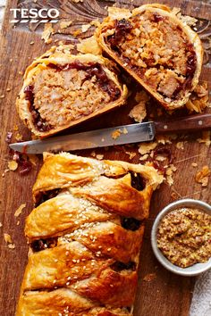 Feast your eyes and fill up on this better-sized sausage roll. A pretty plait of golden, crispy pastry filled with herby sausage meat and sweet caramelised onions makes this savoury showstopper the ideal centrepiece for any festive buffet. Sausage Plait, Sausage Rolls, Sausage Recipes, Pork Recipes, Cooking Recipes, Buffet Recipes, Recipies, Xmas Food, Christmas Cooking