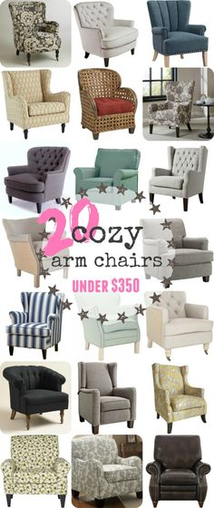 Affordable Reading Chairs. 20 cozy arm chairs under $350. Tufted, upholstered chairs that will make your room look like a million bucks. from theweatheredfox.com