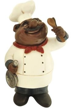 African American Fat Chef Kitchen Cooking Holding Silverware Statue Y64247