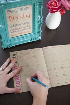 """Simple DIY wedding // If you are a sentimental-type bride who enjoys mailing friends and family birthday cards, then this is the perfect wedding guest book for you! A """"birthday calendar guest book"""" - so easy to make!"""