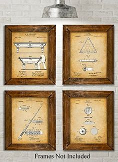 Original Pool Billiards Patent Art Prints  Set of Four Photos 8x10 Unframed >>> Read more reviews of the product by visiting the link on the image.