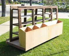 Rolling lumber storage rack.  All repurposed material.