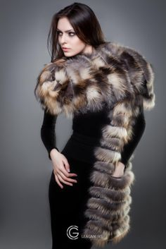 Fox Fur Scarf. This is an exclusive designer accessory, made from a fox fur with convenient small pockets. Designer-LEAGANI MS