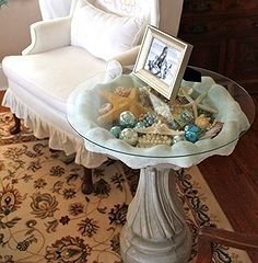 make a curio display table from a bird bath, home decor, painted furniture, repurposing upcycling