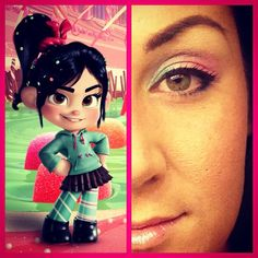 Vanellope inspired eye shadow. Photo by sparklynicole