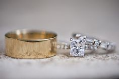 Emerald Cut Engagement Ring with a Diamond Baguette Wedding Band | BRC Photography | See More! http://heyweddinglady.com/impossibly-chic-modern-art-inspired-wedding/