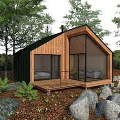 Details of the Garden Shed Plan🏚 Container House Design, Tiny House Design, Home Design Magazines, Micro House, Tiny House Cabin, Forest House, House Extensions, Modular Homes, Architect Design