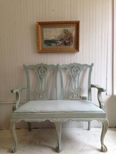 Chippendale Settee In Aqua Gilt   Annie Sloan Chalk Paint Old Ochre Washed  Over With Duck · Chalk Painted FurnitureCustom ...