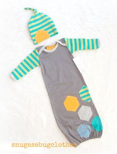 Cool Unique Gray Baby Boy Gown with Matching by snugasabugclothes, $44.00