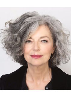 Grey hair, great lipstick