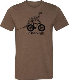 Fat Bike T-Shirt Bicycle T Shirt in Heather Brown by SpokeNwheelz