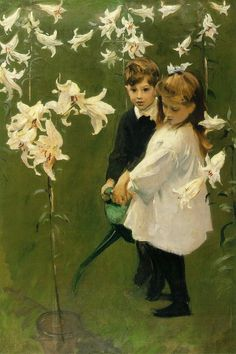 John Singer Sargent - Garden Study of the Vickers Children, 1884. Oil on canvas