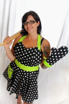 Sweetheart Black & White with Lime Green Apron. Use code FREESHIP for free domestic shipping at checkout.