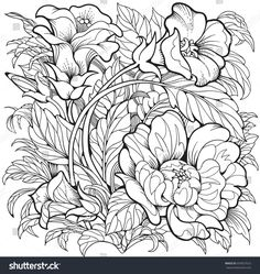 Best line art flowers drawing coloring pages ideas Garden Coloring Pages, Coloring Pages For Grown Ups, Spring Coloring Pages, Flower Coloring Pages, Coloring Book Pages, Line Art Flowers, Flower Art, Poppy Flowers, Images Noêl Vintages