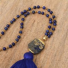 Lapis Lazuli Beaded Pendant Necklace with Gold Accents