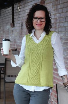 Carnivore Free knitting pattern using Aran-weight yarn. Pattern attributes and techniques include: Bottom-Up, I-Cord, Sleeveless, Twisted Stitches, V-neck. Knit Vest Pattern, Sweater Knitting Patterns, Knit Patterns, Free Knitting Patterns For Women, Knitting For Beginners, Pullover Mode, Knitting Magazine, Summer Knitting, How To Purl Knit