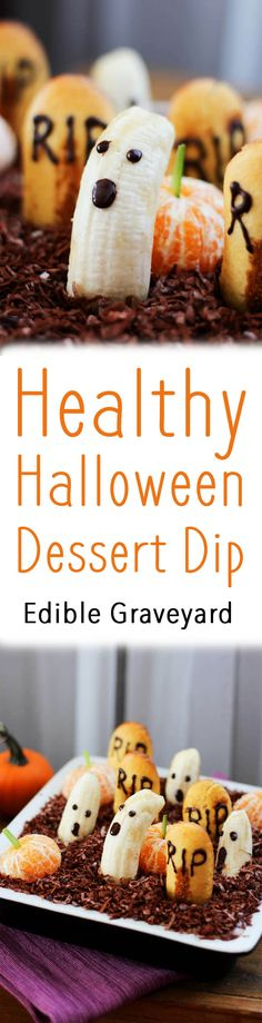 This healthy Halloween dessert dip looks like an edible graveyard and is a healthy vegan dessert for Halloween parties - great for adults and kids alike!
