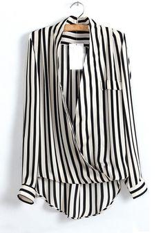 striped ruffled blouse