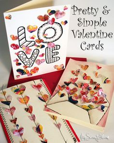Pretty & simple Valentine cards using an Etsy printable • AtopSerenityHill.com #valentinesday #greeetingcard #hearts