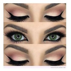 Gorgeous nude and black eye makeup for green eyes ❤ liked on Polyvore featuring beauty products, makeup, eye makeup, eyes and beauty