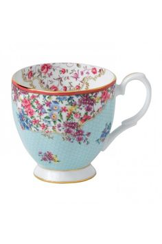 Royal Albert Candy Sitting Pretty Vintage Mug.  At Waterford Wedgwood Royal Doulton, Tanger Outlets, San Marcos, TX or call 1-800-203-4540 or 512-396-4025.  We ship.