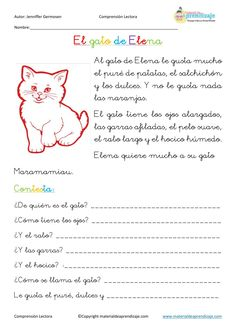 Fichas de comprensión lectora by Educación Primaria - issuu Spanish Class, Teaching Spanish, Homeschool, Language, Classroom, Writing, Learning, Spanish Vocabulary, Alphabet