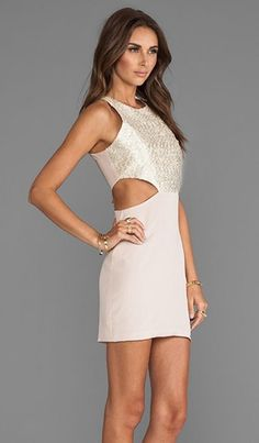 *NAVEN Champagne Sparkle CUT OUT DRESS Cream Taupe BodyCon NWT Sz4 RETAIL $195* Starting at $45.99 ebay seller: matteandgloss