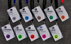 The attendee badges were designed to serve multiple uses. We liked the idea of combining the badge with the conference booklet, so the cover serves as the name badge which then flips and opens to reveal the contents of the booklet.