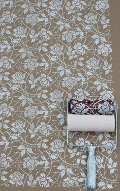 Patterned Paint Roller in Sweet Sea Roses by Not Wallpaper Patterned Paint Rollers