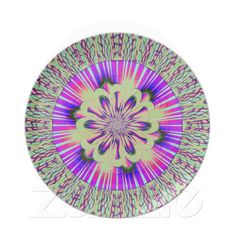 Green Purple and Pink Stripes with Flower Plate