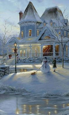 I love the snowy night in this picture.The structure and appearance of the house looks gorgeous.The night with the snow contrasting against the house and light looks very nice! It brings and reveals beauty into the night.