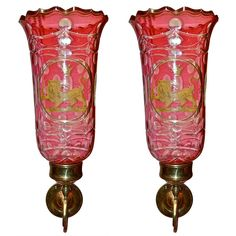 Pair Of Late Regency Cranberry Glass Heraldic Wall Sconces Antique Furniture, Modern Furniture, Wall Sconces, Mirrors, Cranberry Glass, Modern Wall Lights, Hurricane Glass, Regency, Pink And Gold