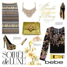 """""""Soirée de Luxe with bebe Holiday: Contest Entry"""" by einn-enna ❤ liked on Polyvore featuring Bebe, Chanel, bebe and holiday2015"""