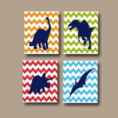 Boy DINOSAUR Wall Art Boy DINOSAUR Nursery CanvasBaby Boy Nursery Canvas Wall Art Boy Bedroom Wall Art Boy  Boy Wall Art DINO Print Set of 4 by TRMdesign on Etsy https://www.etsy.com/listing/188783919/boy-dinosaur-wall-art-boy-dinosaur