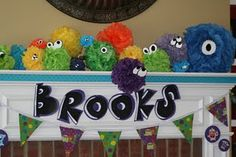 monster party decor...monsters made from bath lufas?