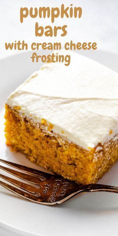 Oh, how I love these delicious Pumpkin Bars! And I'm sure you will too - after all, what's not to love? This dense and spicy pumpkin cake tastes like a blondie and Pumpkin Spice Latte combined. With a swirl of fluffy cream cheese frosting, this recipe will have your tastebuds swooning. #pumpkin #pumpkincake #fallrecipes Homemade Pumpkin Puree, Pumpkin Pie Recipes, Fall Recipes, Thanksgiving Recipes, Pumpkin Spice Latte, Pumpkin Pumpkin, Pumpkin Cookies, Fall Desserts, Delicious Desserts