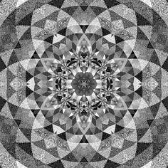 Monochrome 3 kaleidoscope mandala optical art by Sequin World Illusions, Monochrome, Mandala, Quilts, Blanket, Black And White, Rugs, Patterns, Home Decor