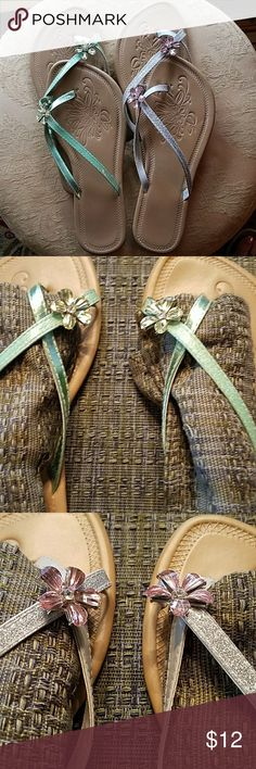 Bundle of 2 - Flower Jeweled Sandals Barely Worn beautiful sandals with sparkle in the band's and a flower at the big toe. Shoes Sandals