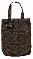 Animal Print Shopping Tote bag with matching and removable flower brooch